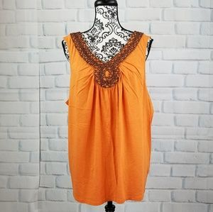 Sonoma sz 1x beaded front sleeveless top